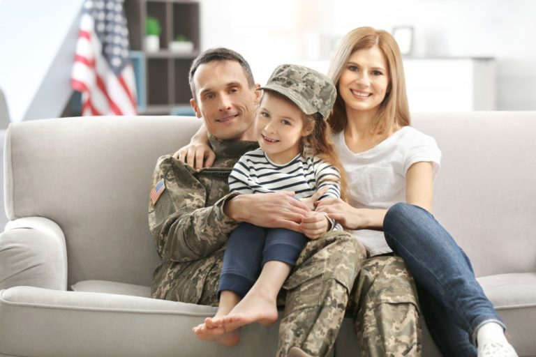Military veteran with family