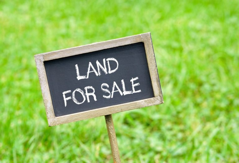 Land for sale - chalkboard with text on green grass background