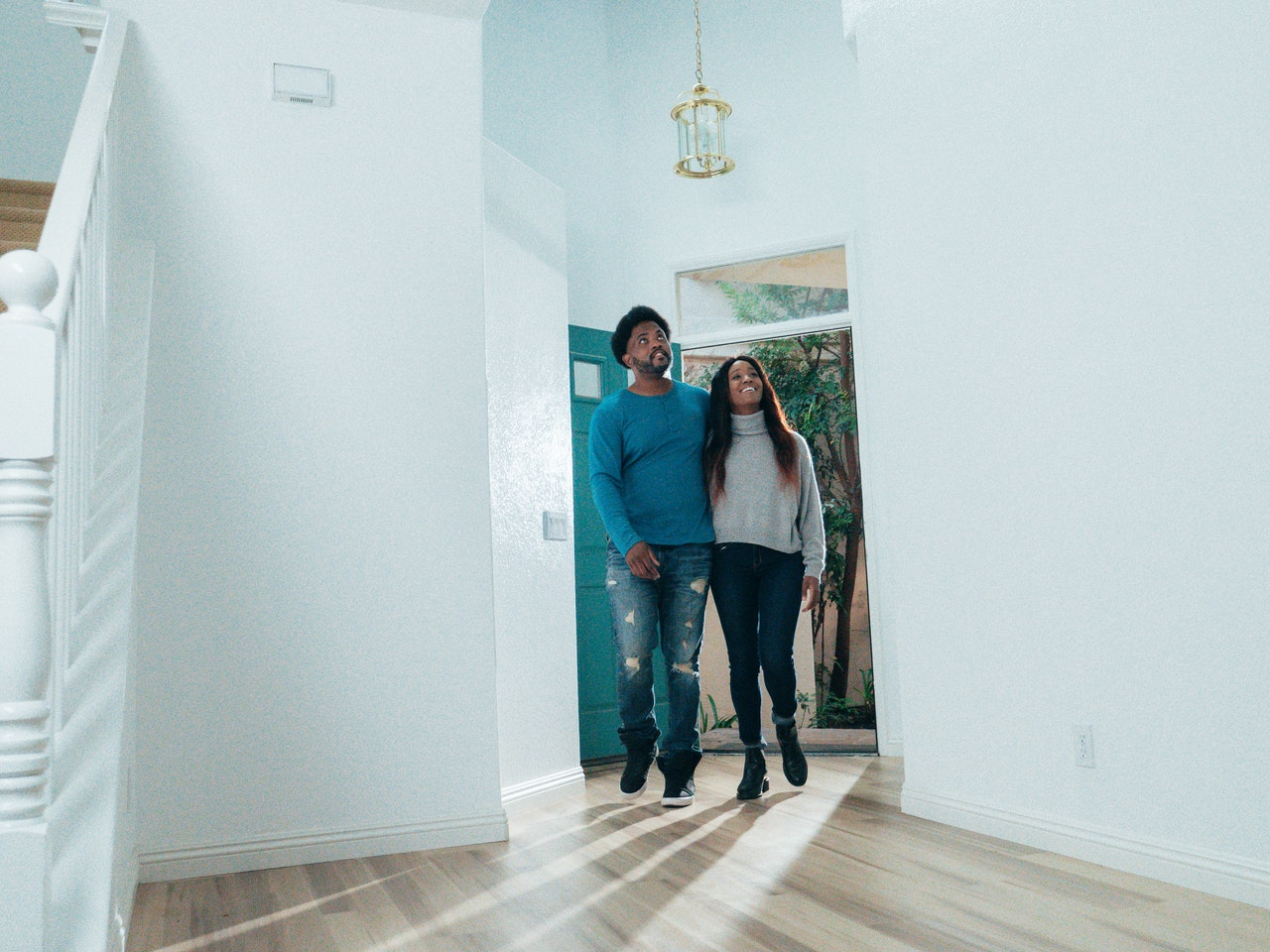 couple checking out a house